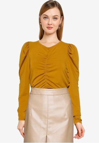 Vero Moda brown Megane Rouching Top 3054AAA470467BGS_1
