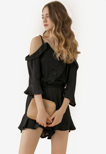 Eyescream black Ruffle Hem Cold Shoulder Playsuit 0AC92AAFE4C68CGS_1