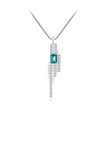 Glamorousky white 925 Sterling Silver Fashion and Elegant Geometric Tassel Green Cubic Zirconia Pendant with Necklace 8168DACAB2E1FFGS_1