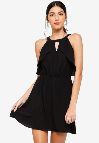 ZALORA black Ruffles Fit And Flare Dress F5BCCAA28AFEB5GS_1