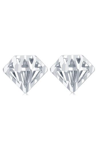 MaBelle silver 14K White Gold Two-Layer Sky Lantern With Diamond-Cut Segment Stud Earrings 3C8ECAC34393E6GS_1