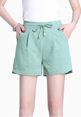 Twenty Eight Shoes green VANSA Icy Wide-leg Shorts VCW-St8023 6E406AA81BA31CGS_1