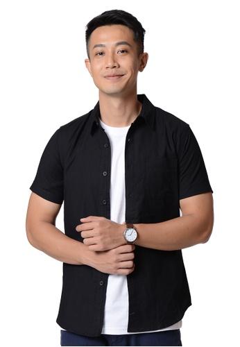Praise black Short Sleeves Oxford Shirt PR067AA99HNWSG_1
