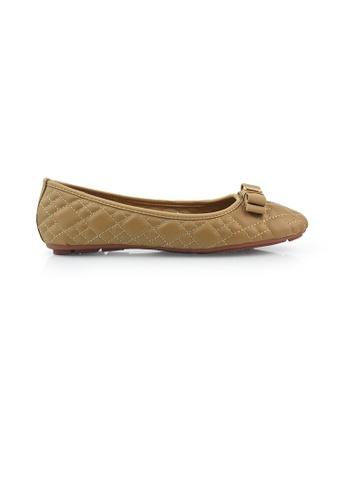 SHINE beige Round Toe Ribbon Flats SH554SH0GEPXSG_1