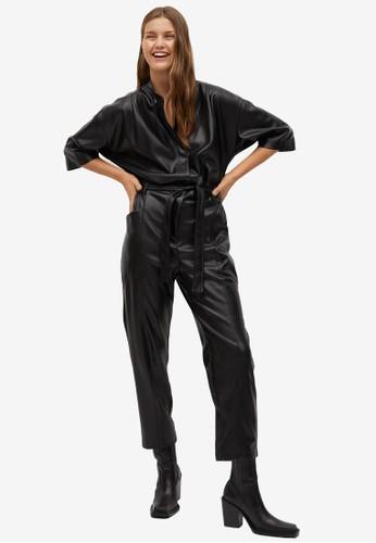 Mango black Belt Faux-Leather Jumpsuit 2B313AA9D1565DGS_1