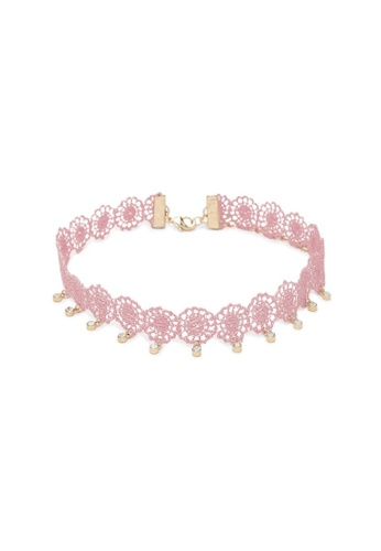 LUCCACAL pink Lace Medallion Choker LU294AC47UHGMY_1