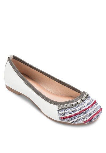 Wolesprit 台中ves 撞色滾邊閃飾平底鞋, 女鞋, 芭蕾平底鞋