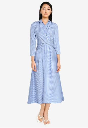 ZALORA BASICS blue Wrap Detail Shirt Dress 347CCAA2AB02EEGS_1