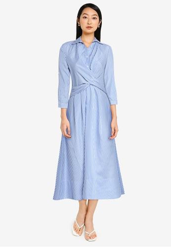 ZALORA BASICS blue Wrap Detail Shirt Dress 347CCAA2AB02EEGS_1