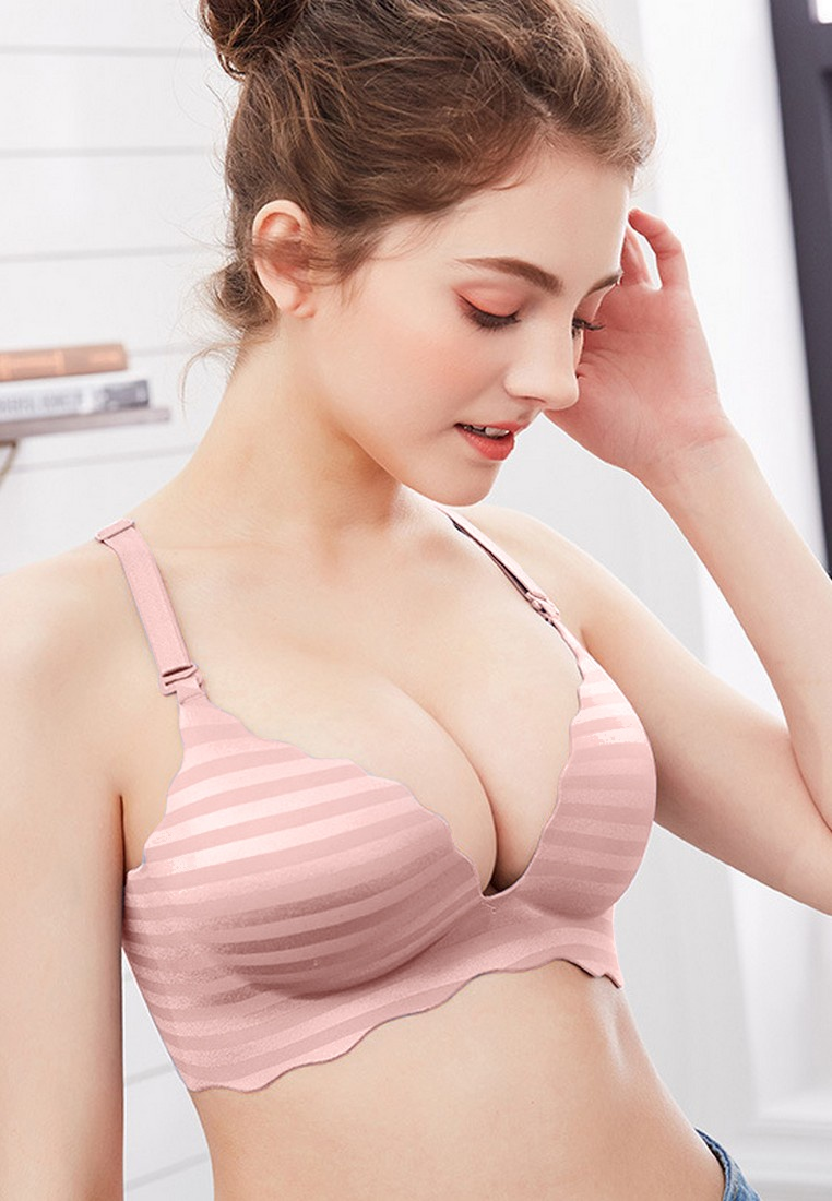 Padded Striped Wireless LWJ08201 LYCKA LYCKA Mercerized Pink Pink Bra 7S1Xpqtn