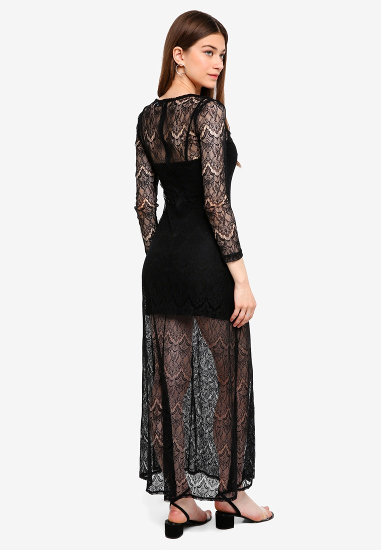 Borrowed 2 Lace 1 in Dress Black Maxi Something rRR1ZYwq