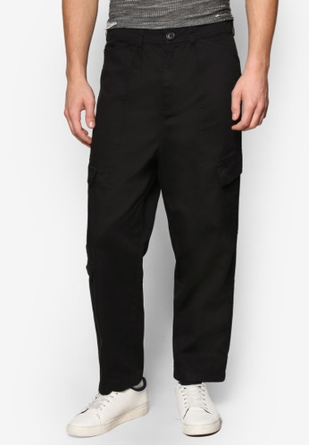 Topman black AAA Black Cropped Military Style Trousers TO413AA47DZGMY_1