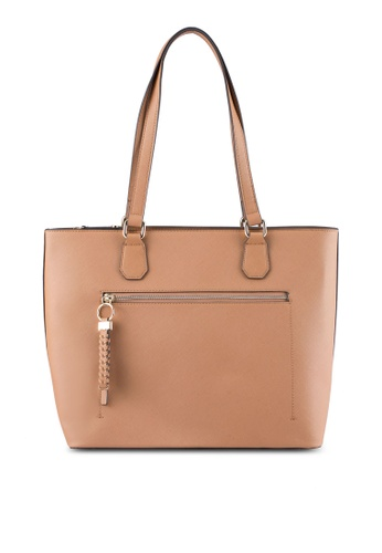 ZALORA brown Large Tote With Braided Puller 6FC13ZZD9481F1GS_1
