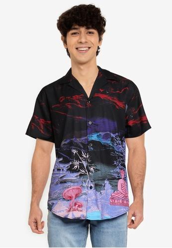 Mennace navy Saturn Sateen Revere Shirt 36B96AAA2289A1GS_1