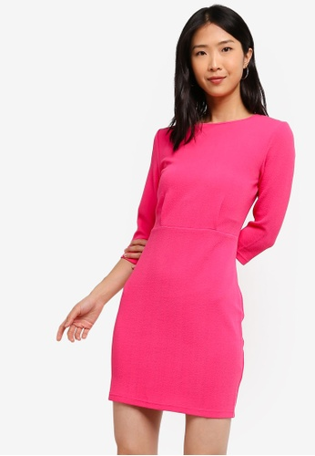 ZALORA BASICS pink Basic Half Sleeve Sheath Dress B49A2AA8336A50GS_1