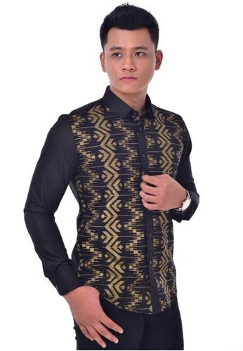 UA BOUTIQUE black Long Sleeve Shirt-UA1011KL (Black/ Gold) UA752AA0SLLMMY_1