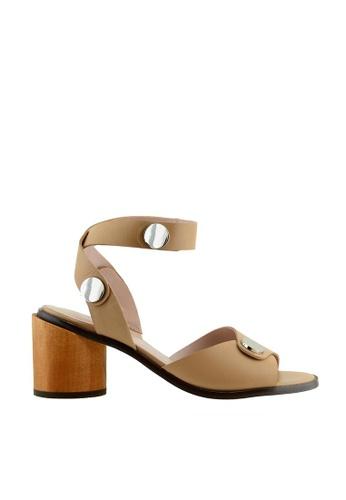 eq:iq brown eqJANET Snap Button Embellished Sandals EQ351SH09YOOSG_1