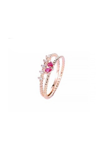 Atrireal pink and gold ATRIREAL - Heart of Eva Ring Set of 2 3C727AC6E9968FGS_1