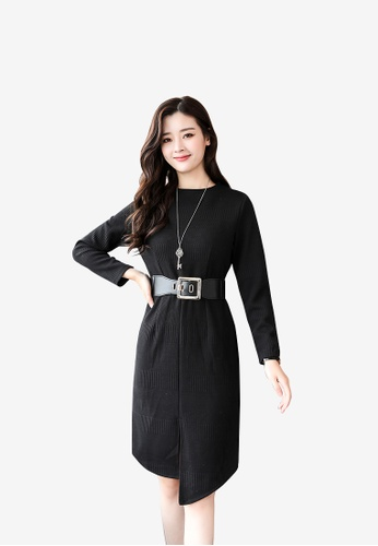 hk-ehunter black Women Round Neckline Long Sleeves Knitted Dress 49179AA506F2CAGS_1