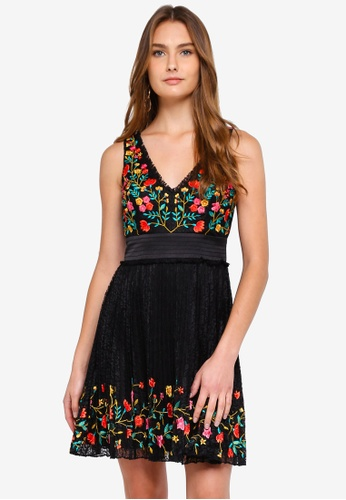 French Connection black Amity Lace V Neck Embroidered Dress 34D28AA0574D6EGS_1