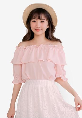 Eyescream pink Ruffle Off Shoulder Top 61193AA99F04E9GS_1
