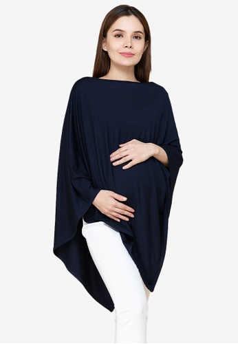 MOTHER 2 BE blue Poncho Cover Nursing Maternity Top BC405AAD0BC61CGS_1