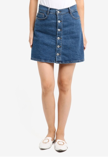 Mango blue Buttoned Denim Skirt 03488AAB28EC13GS_1