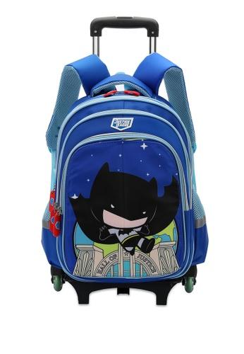 DC Comics blue JUSTICE LEAGUE TROLLEY HOLDER SCHOOL BAG 7621CKC97733C0GS_1