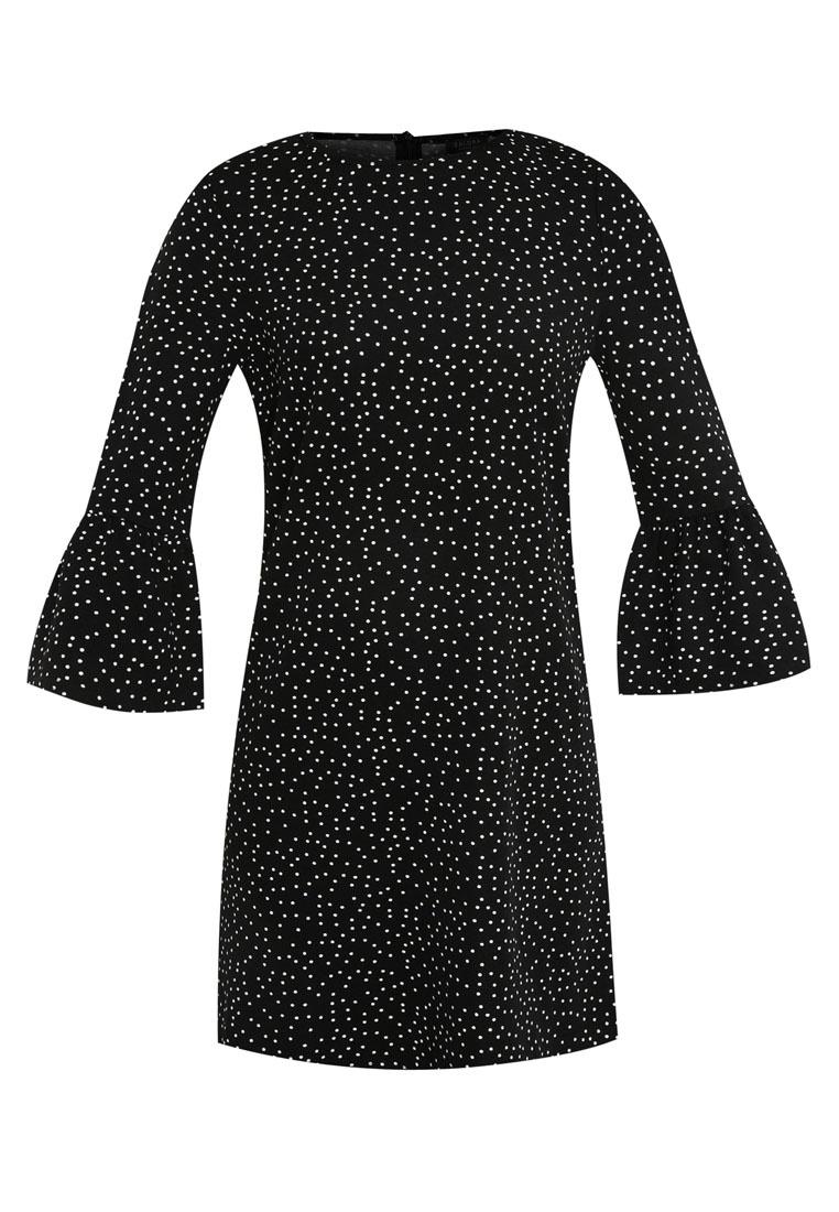 Shift Sleeve Black ZALORA Fluted Dress 86wqU