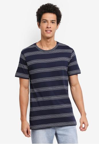 MANGO Man 藍色 短袖條紋T恤 42579AAA3C8684GS_1