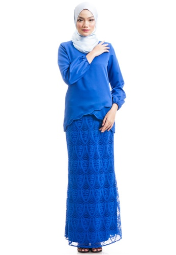 Ashura blue Naresha Kurung With Layered Scallop 60DEFAAEEE6A05GS_1