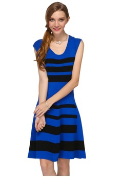 Open Details Back Striped Knit Dress