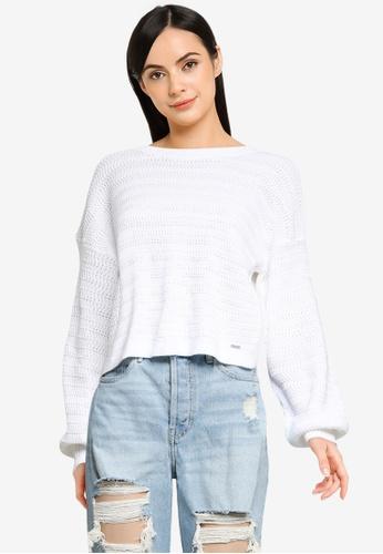 Hollister white Easy Open Stitch Cardigan 438E8AA53C096DGS_1