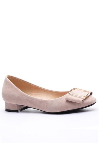 Twenty Eight Shoes 方頭方扣絨面高踭鞋1205-12 44DADSH26F1DE7GS_1