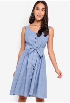 ee80166a10f36 ZALORA blue and multi Button Down Dress E457FAADD5C097GS_1