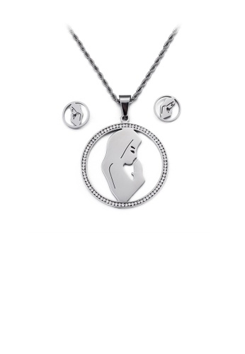 Glamorousky white Fashion and Elegant Mother Geometric Round 316L Stainless Steel Necklace and Stud Earring Set with Cubic Zirconia B5897AC1DD2256GS_1