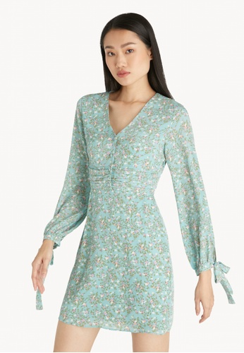 Pomelo blue Mini Floral Long Sleeves Dress - Blue CAF94AA46C6A1AGS_1