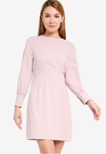 ZALORA WORK 粉紅色 Pleat Detail Long Sleeves Sheath Dress F83B4AA8F570D7GS_1
