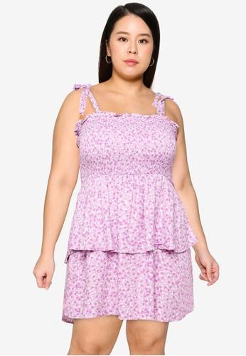 Cotton On purple Plus Size Woven Emma Mini Tiered Dress A177CAAB366F02GS_1