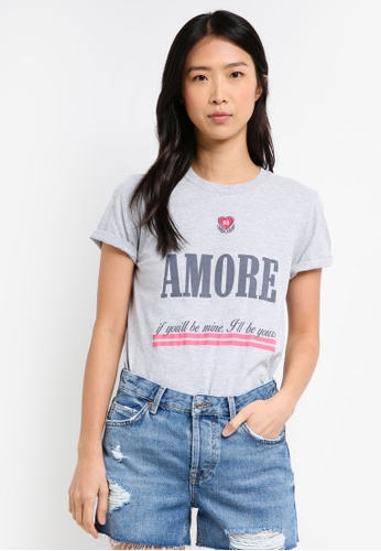 TOPSHOP grey Embroidered Amour T-Shirt 54360AA40E0578GS_1