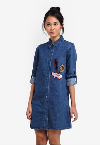 Something Borrowed blue Patched Denim Shirt Dress DDE20AA12AA32EGS_1