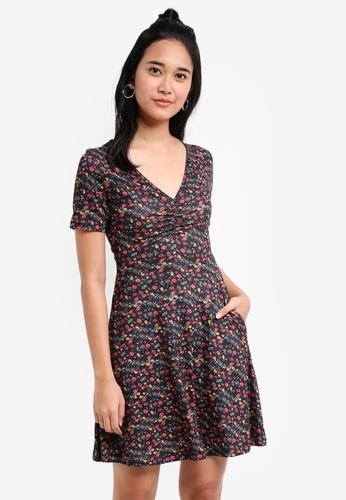 Something Borrowed black Printed Knit Skater Dress 3CF40AA5CF8B38GS_1