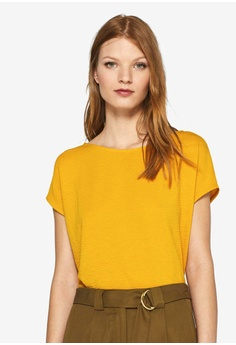 deb60fb0add3d1 ESPRIT yellow Crinkled Short Sleeve T-Shirt 6390AAAB9D719AGS 1
