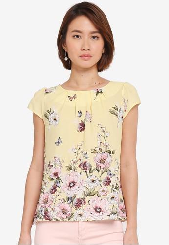 Dorothy Perkins yellow Petite Lemon Floral Top 411BEAAB19A2C3GS_1