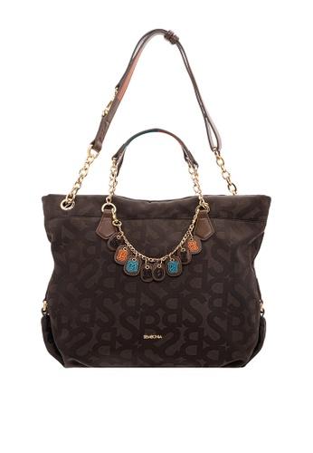SEMBONIA brown SEMBONIA Jacquard Trimmed Leather Tote Bag (Dark Brown)  9347EACF845BFEGS 1 f3dcec3cbd23c
