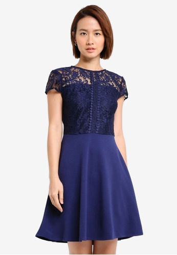 Dorothy Perkins navy Lace Top Skater Dress 75C0EAA8043EF5GS_1
