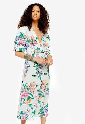 6930b5d76acc Buy TOPSHOP Petite Frieda Floral Puff Midi Dress Online on ZALORA Singapore