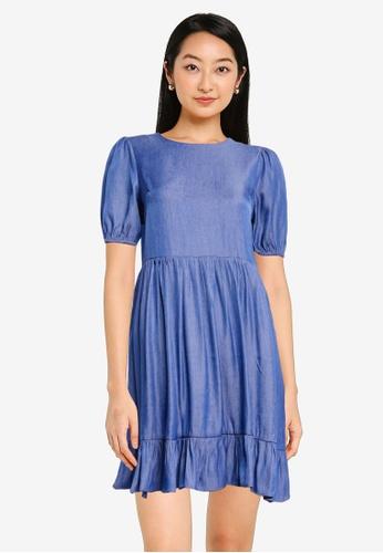 ZALORA BASICS blue Chambray Puff Sleeve Mini Ruffle Dress 4B9B6AA2653057GS_1