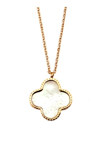 YOUNIQ gold YOUNIQ Blossom 14K Plated Titanium Necklace with Two-sided Shell Colors (Rosegold) D60C7AC3C4AFE0GS_1