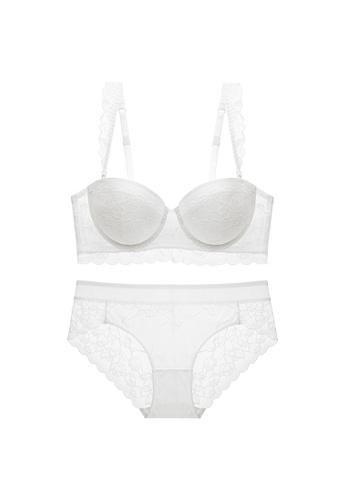 W.Excellence 白色 Premium White Lace Lingerie Set (Bra and Underwear) 9DB69US977D99CGS_1